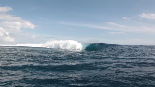 vídeos de stock e filmes b-roll de empty wave at teahupoo - territórios ultramarinos franceses