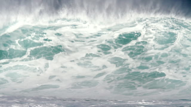vidéos et rushes de ms empty wave with offshore winds breaking on  inside reef  / haleiwa, hawaii, united states - de grande taille