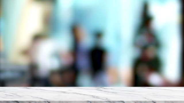 empty white marble table top with blur customer in cafe restaurant with bokeh light background,backdrop template for display of product or design,food stand mock up - coffee shop background stock videos & royalty-free footage