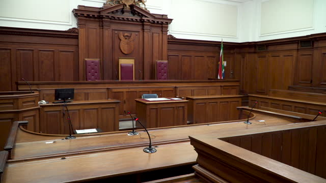 empty wood panelled courtroom - south africa stock videos & royalty-free footage