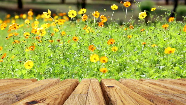 Empty wooden table with flower for background