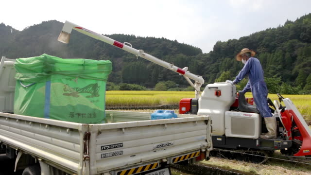 Emptying rice from combine