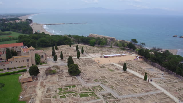empuries roman ruins  aerial view - old ruin stock videos & royalty-free footage