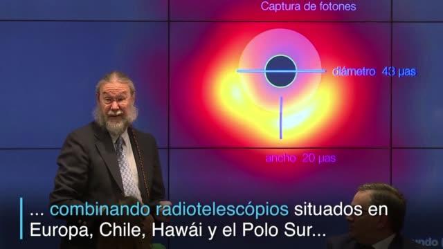 en un evento historico para la ciencia investigadores dan a conocer al publico la primera imagen captada por radiotelescopios de un agujero negro... - astronomia stock videos & royalty-free footage