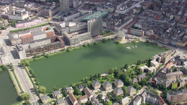 ws aerial zi end of  lakes in copenhagen / copenhagen, denmark - copenhagen video stock e b–roll