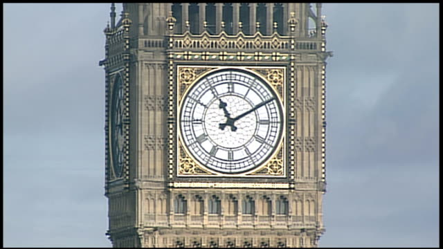 End of Mayan calendar cycle marked around the world Big Ben clock general views Medium shot Big Ben clock face as hands move from 1110 to 1112