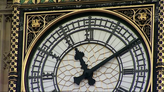 End of Mayan calendar cycle marked around the world Big Ben clock general views ENGLAND London Westminster EXT Pedestrians on streets / Traffic along...