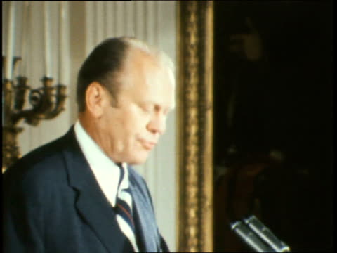 end of president gerald ford speech after being sworn into office / president ford thanks the audience poses with his wife for a moment exits gerald... - 1974 stock videos and b-roll footage
