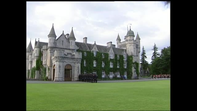 end of queen's golden jubilee tour: balmoral garden party; peter wilkinson pool scotland: balmoral: balmoral castle: ext queen elizabeth ii , prince... - castle stock videos & royalty-free footage