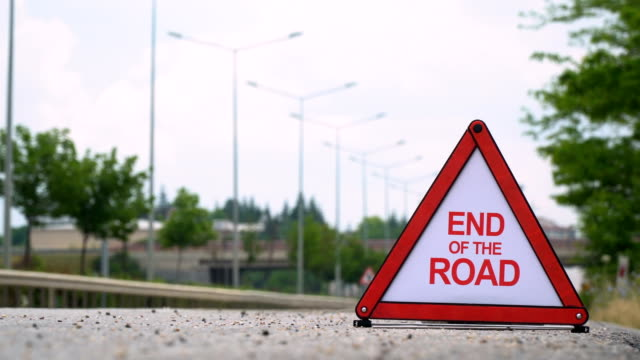 end of the road - traffic sign - road closed sign stock videos & royalty-free footage