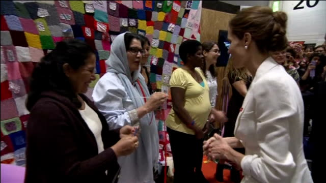 'end sexual violence in conflict' global summit opens in london england london photography** angelina jolie and william hague mp along through lobby... - female torture stock videos & royalty-free footage