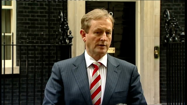 enda kenny statement in downing street; england: london: downing street: ext enda kenny out of no.10 and up to press sot - we had a good meeting with... - tidy stock videos & royalty-free footage
