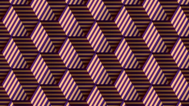 vídeos de stock e filmes b-roll de endless animation of moving open boxes with animated striped texture. digital seamless loop animation. 3d rendering. 4k, ultra hd resolution - design plano