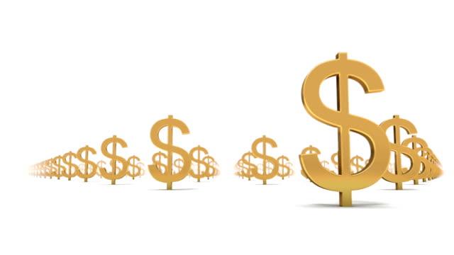 vídeos de stock, filmes e b-roll de endless dollar signs low angle loop - símbolo de moeda