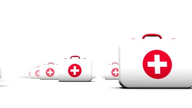endless first aid kits low angle loop - första hjälpen sats bildbanksvideor och videomaterial från bakom kulisserna