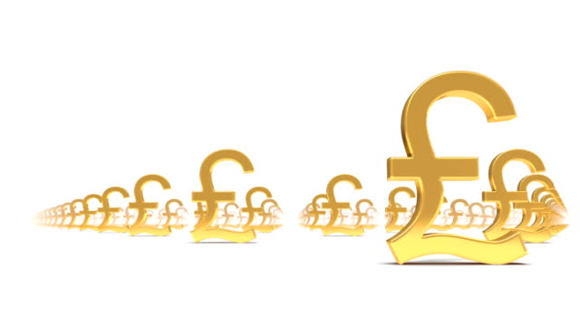 endless pound symbols low angle loop - pound sterling symbol stock videos & royalty-free footage