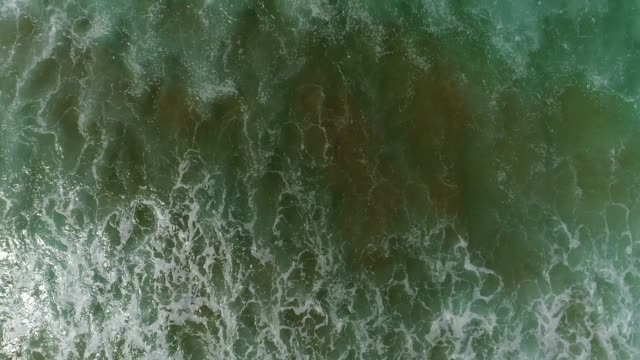 endless rolling waves coming on shore of sandy beach in australia at pacific ocean in aerial top down still view above water surface. - rolling stock videos & royalty-free footage