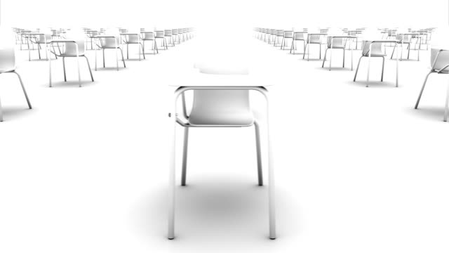 endless school chairs front view loop (white) - chairs in a row stock videos & royalty-free footage
