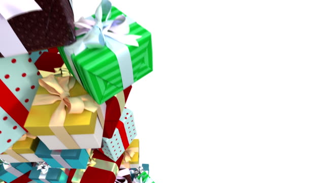 endless stack of gifts with copyspace. loop. - christmas gift stock videos & royalty-free footage