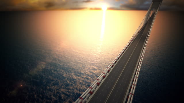 Endless suspension bridge over the water. Loopable CG.