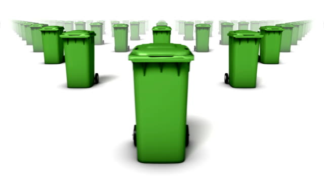 endless trash cans front view loop (green) - wastepaper bin stock videos & royalty-free footage