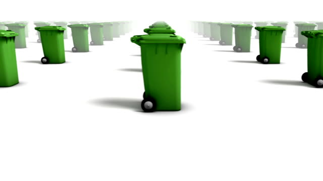 endless trash cans side view loop (green) - wastepaper bin stock videos & royalty-free footage