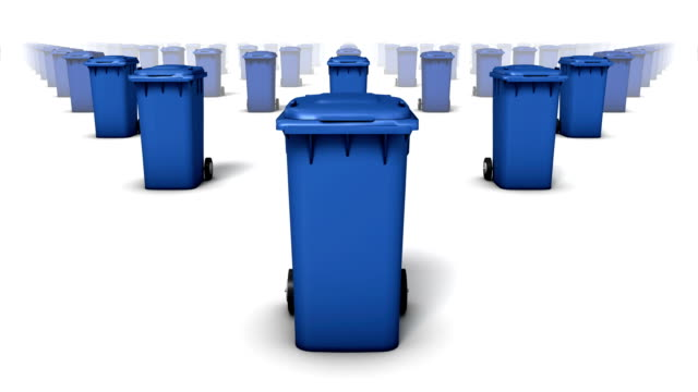 endless trashcans front view loop (blue) - wastepaper bin stock videos & royalty-free footage