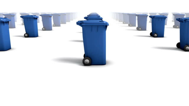 endless trashcans side view loop (blue) - wastepaper bin stock videos & royalty-free footage