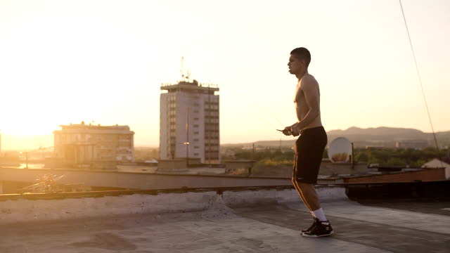endurance in the sunrise - jump rope stock videos & royalty-free footage