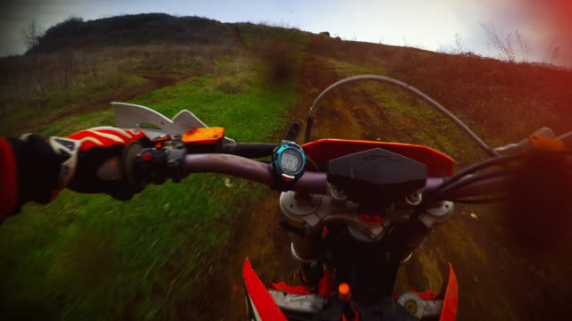 Enduro motorbike riding point of view