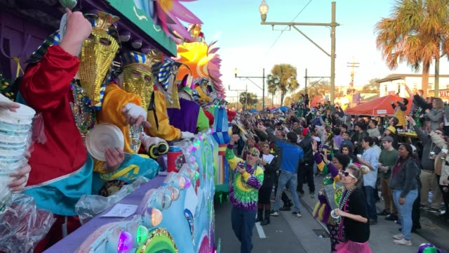 endymion mardi gras parade - atmosphere on february 22, 2020 in new orleans, louisiana. - parade stock videos & royalty-free footage
