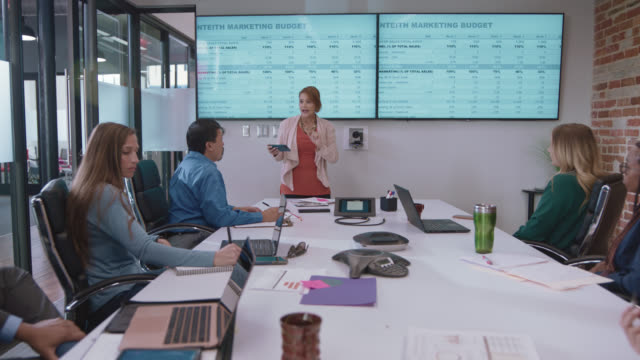 energetic businesswoman breaks down new marketing statistics to her diverse colleagues during a meeting in a corporate board room - corporate business stock videos & royalty-free footage