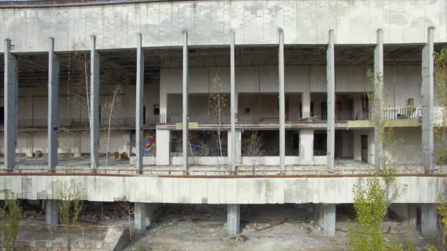 energetik -- house of culture building in pripyat -- abandoned town near chernobyl nuclear power plant - bad condition stock videos and b-roll footage