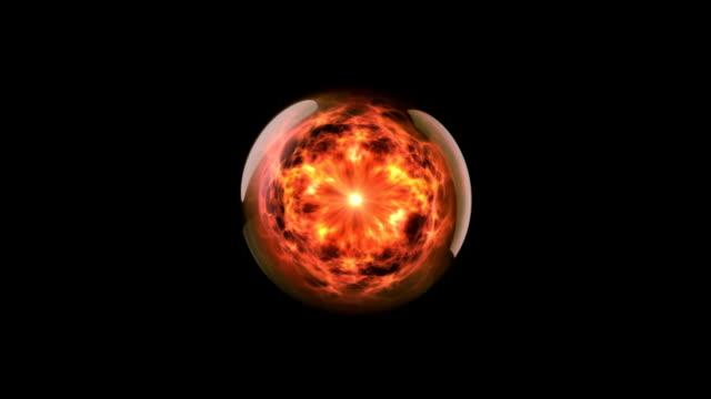 vídeos de stock, filmes e b-roll de energia bola de fogo 02 - plasma