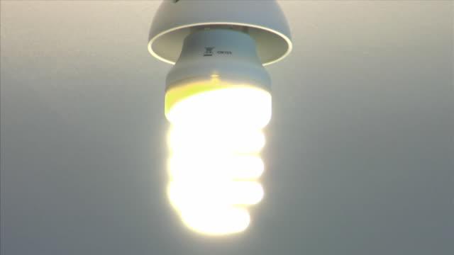 cu, energy efficient light bulb - energy efficient lightbulb stock videos & royalty-free footage
