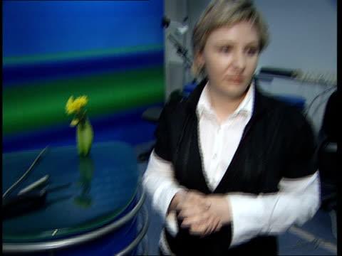 gazprom sanatorium and television station; sukhushina interview sot / sukhushina showing reporter round studio / reporter talking to sukhushina sot /... - teleprompter stock videos & royalty-free footage