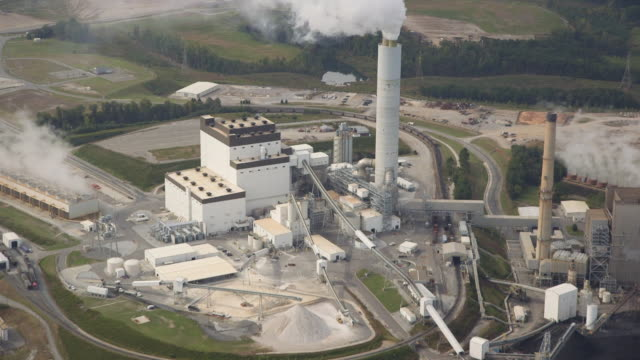 energy plant shot from flying plane, montage - toxic waste stock videos & royalty-free footage