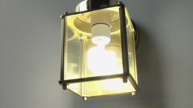 cu energy saving light bulb in glass shade turning off - energy efficient lightbulb stock videos and b-roll footage