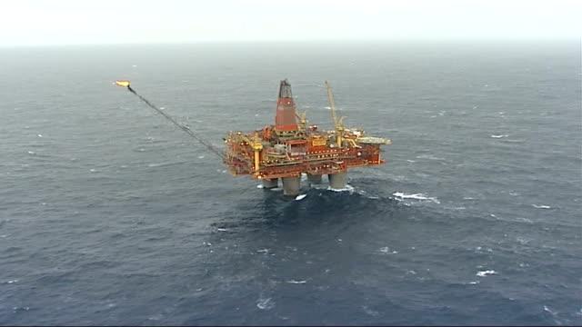 statfjord b oil platform; norway: north sea: statfjord b oil platform: ext air view north sea with oil rig - fossil fuel stock videos & royalty-free footage