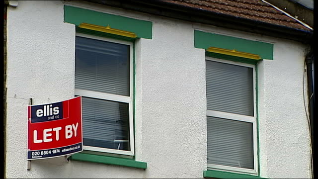 Row of semidetached houses house with 'To Let' sign is ClearSprings hostel Terraced house with 'To Let' sign Reporter to camera and reporter along...