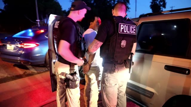 ice enforcement and removal operations arrest criminal fugitives as part of operation cross check - criminal stock videos & royalty-free footage