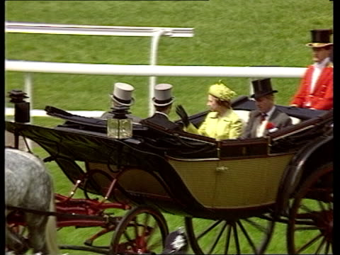 Engagement of Prince Andrew and Sarah Ferguson is announced ITN LIB Ascot Racecourse Queen Prince Philip riding in open carriage PULL OUT Prince...