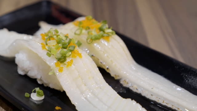 engawa aburi sushi - condiments stock videos and b-roll footage
