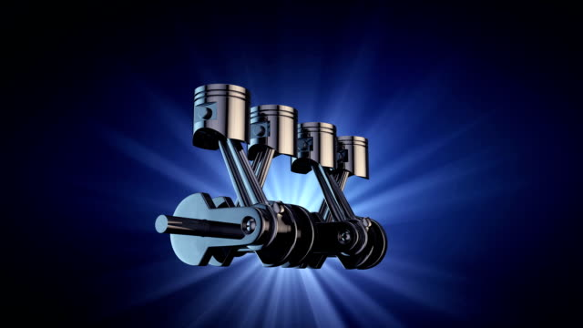vídeos de stock e filmes b-roll de v4 engine pistons and crankshaft on blue background. 3d render animation - cilindro veículo terrestre comercial