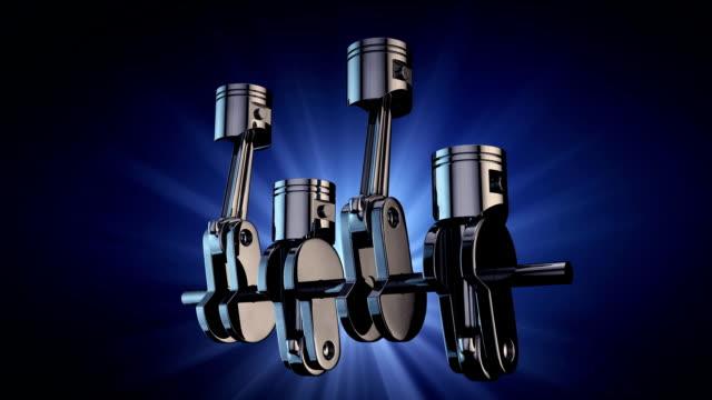 v4 engine pistons and crankshaft on blue background. 3d render animation - piston stock videos & royalty-free footage