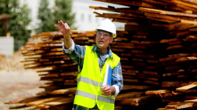 engineer architect at wood industry. carpenter at construction site. - tagliaboschi video stock e b–roll