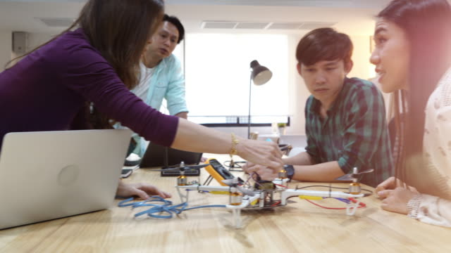 engineer developing electronic drone - internet of things stock videos and b-roll footage