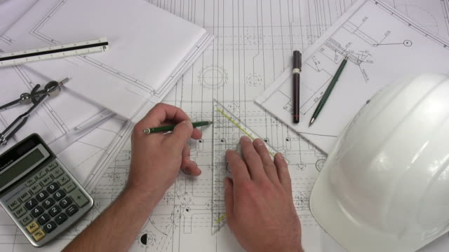 engineer drawing on blue print - pair of compasses stock videos & royalty-free footage