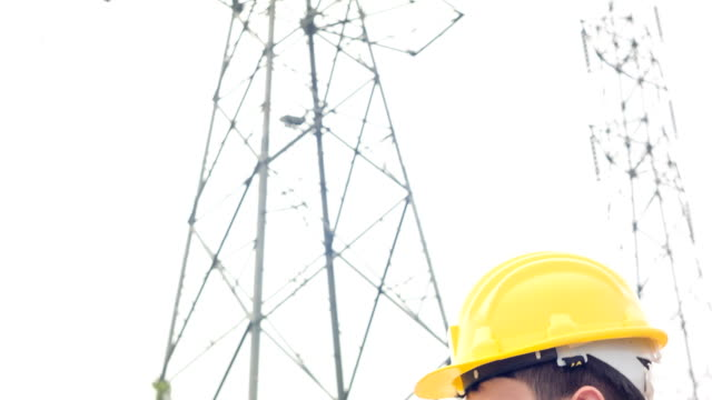 HD CRANE : Engineer inspecting at electrical substation.