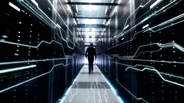 IT Engineer Moving Followed By Conceptual Representation of Digitization of Information Flow Moving Through Rack Servers in Data Center.